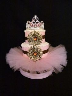 Love the tutu and crown for diaper cake all thats missing is sweet shoes and NO ANIMAL PRINT!