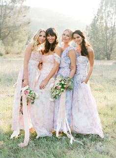 Peruse this collection of 37 pretty pastels for your lovely ladies on SMP: http://www.StyleMePretty.com/2016/03/27/spring-wedding-pastel-bridesmaids-dresses/