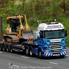 Here is one of the Stobart Rail Scania R series truck with low loader trailer…