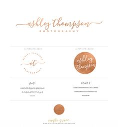 Rose Gold Foil Initials signature Logo design and by IndieGrace