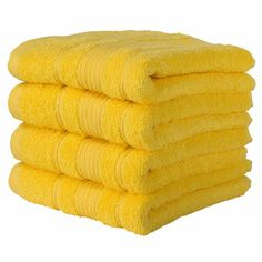 Qute Home Turkish Cotton Bath Towels x 52 inches) 4 Pieces Towel Set, Yellow Yellow Baths, Yellow Bathrooms, Yellow Rooms, Bath Towel Size, Towel Set, Mellow Yellow, Bright Yellow, Monochromatic Room, Yellow Cabinets