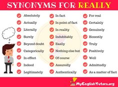 Here is a list of synonyms for REALLY in English you should know to expand your English vocabulary. List of Synonyms for REALLY Some important REALLY synon English Writing, English Words, English Grammar, English Language, Essay Writing Tips, Writing Words, Writing A Book, Writing Ideas, Learning English Online