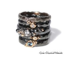 Silver & gold rings with diamond, sapphire & alexandrite