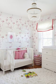 Flamingo Wallpaper in Pink and White Nursery