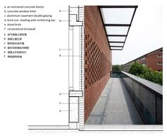 Image 51 of 58 from gallery of Central Canteen of Tsinghua University / SUP Atelier + School of Architecture Tsinghua University. Tiled Wall Structure of Northwest Stair Brick Architecture, Concept Architecture, School Architecture, Brick Facade, Facade House, Tsinghua University, Kairo, Brick Detail, Architectural Section