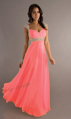 2015 Cheap Cap Sleeve Sweetheart Pink Peach Purple Blue Chiffon A Line Long Prom Dresses Party Dresses Ball Gowns Prom, Prom Party Dresses, Ball Dresses, Homecoming Dresses, Evening Dresses, Formal Dresses, Beautiful Bridesmaid Dresses, Beautiful Dresses, Brides Mom Dress