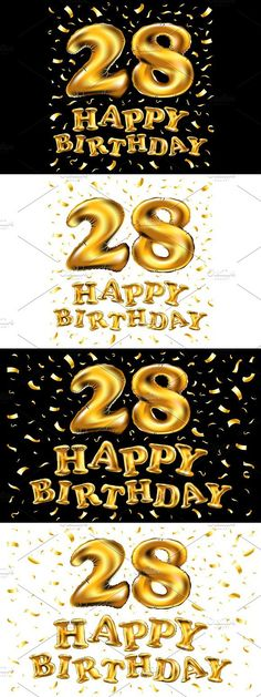 happy birthday 28 gold balloon #birthday #design