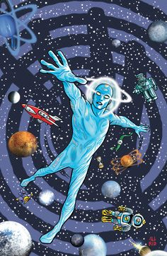 Mike Allred cover art for the new Vertigo/DC Comics -- Mystery in Space anthology book.