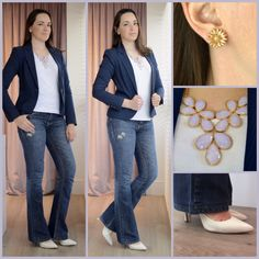 Work outfit #jeans #flare #heels