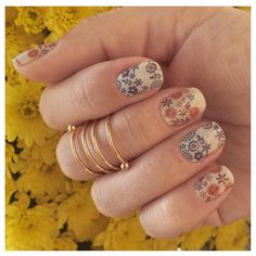 Featuring a boho-chic floral print in neutral-hued blues and reds, 'Boho Blossoms' is a go-to for any season. Romantic Nails, Jamberry Nail Wraps, You Nailed It, Blossoms, Boho Chic, Blues, Neutral, Floral Prints, Nail Art