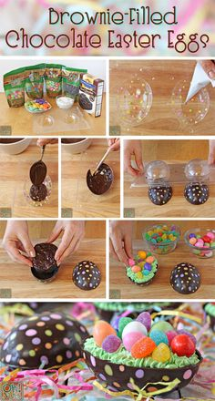 Brownie-Filled Chocolate Easter Eggs - try filling with truffle ingredients Easter Candy, Easter Treats, Easter Deserts, Desserts Ostern, Creative Cake Decorating, Easter Chocolate, Cake Chocolate, Easter Cookies, Easter Dinner