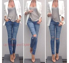 Ripped skinny jeans, white blazer and heels. Love it! UpCloseandStylish