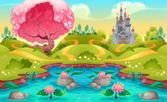 Fantasy Landscape with Castle in the Countryside by ddraw Fantasy Landscape with Castle in the Countryside. Vector cartoon illustration. PSD, JPG and EPS files.