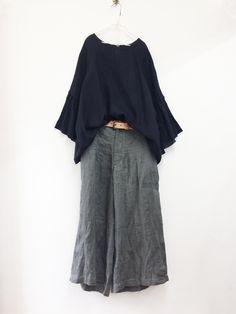 吉備リネンへリンボンワイドパンツ / khaki | コーディネート|nest Robe ONLINE SHOP