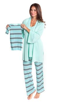 Olian Anne 4 Piece Mom And Baby Maternity Nursing Pajama Gift Set - Zig Zag | Maternity Clothes BEST selection of Maternity clothes anywhere! FREE Gift with purchase! see www.duematernity.com for details