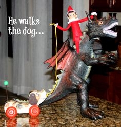 Our Elf on the Shelf is CRAZY!  100+ ideas CLICK HERE!