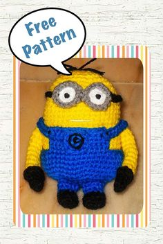 Despicable Me Minion Crochet Pattern (Free)  http://snacksieshandicraftcorner.blogspot.com.br/2011/06/despicable-me-minion-crochet-pattern.html        ♪ ♪ ... #inspiration_crochet #diy GB http://www.pinterest.com/gigibrazil/boards/