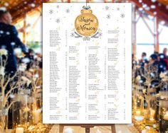 Wedding Seating Chart   RUSH SERVICE  Winter Gold Wedding