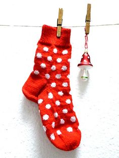 spotty socks - almost as good as spotty tights! Red Christmas, Christmas Stockings, Little Ruby, Red Day, Red Cottage, Red Balloon, Knitting Socks, Ruby Red, Knitting Patterns