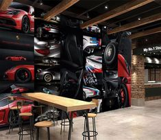 Wall Murals - Wallpaper - U. Delivery Page 11 Garage Studio, Garage House, Garage Shop, Garage Workshop, 3d Wall Murals, Door Murals, Car Shed, Automotive Furniture, Automotive Logo
