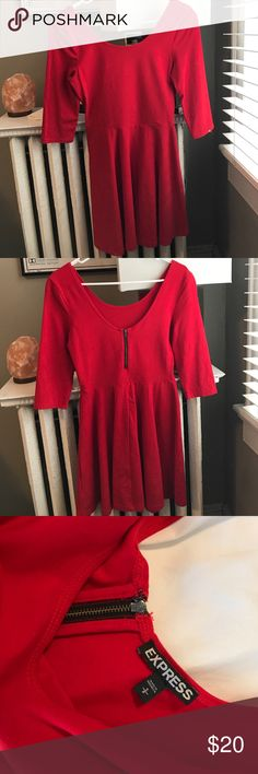 Beautiful Red Express dress size small Size small. Flared bottom with fitted top half. Short black zipper in the back. Scoop neck and quarter sleeves. Warn twice. Light pilling in arm pits. Easily shaved off. Express Dresses Midi