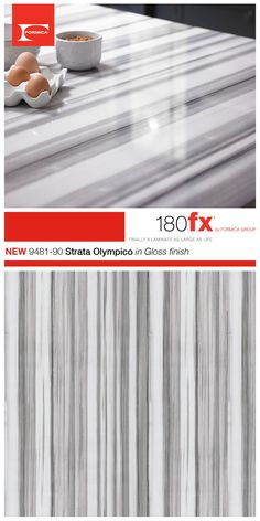 A dramatic striped stone in shades of gray and white, Formica® 180fx® 9481-90 Strata Olympico in Gloss finish is an exciting marble with a distinctive pattern. Strata Olympico melds classic luxury with the modern appeal of streamlined design.