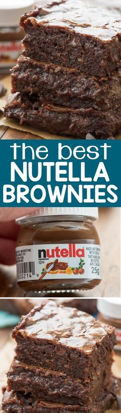 These are the BEST NUTELLA BROWNIES EVER - one bowl, no mixer, just TONS of chocolate. They're so fudgy and rich they are the PERFECT brownie recipe! via @crazyforcrust