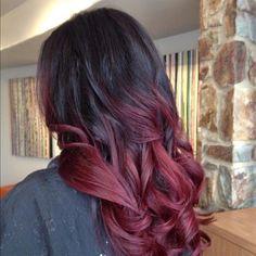 красный балаяж натемные волосы