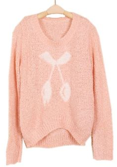 Pink Long Sleeve Cherry Pattern Mohair Sweater