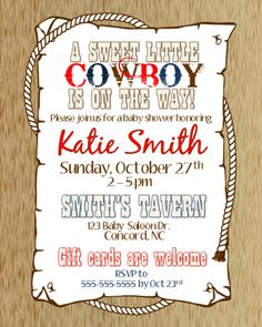 Cowboy Baby Shower Invitation I