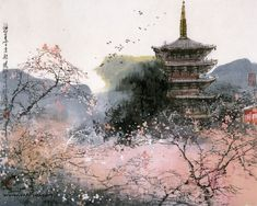 japanese buildings traditional painting wallpaper