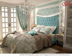 Дизайн спальни  http://www.ok-interiordesign.ru/blog/biryuzovy-cvet-v-interyere-30-foto.html