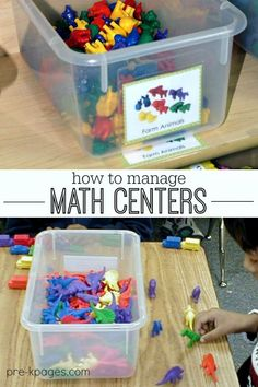 Managing Math Centers in Preschool. How to implement and manage math centers in your pre-k, preschool, Head Start, or kindergarten classroom. Tips, ideas, and photos from my classroom Numbers Preschool, Kindergarten Centers, Preschool Learning, Kindergarten Classroom, Teaching Math, Math Centers, Preschool Curriculum, Kindergarten Reading, Elementary Teacher