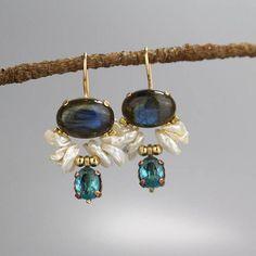 Bezel Set Labradorite Dangle Earrings with Pearls and Blue CZ Bridal Wedding Labradorite Statement Earrings, Gift for Women Pendant Jewelry, Jewelry Art, Jewelry Accessories, Jewelry Design, Geek Jewelry, Gothic Jewelry, Jewelry Necklaces, Indian Jewelry, Pendant Necklace