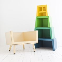 Stacking Throne for #children-by Dutch designer Laurens van Wieringen chirs unstack and turns into shelf-seat can be lowered as the child grows up- very #cool