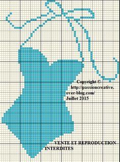 Grille gratuite point de croix : Maillot de bain bleu - Le blog de Isabelle