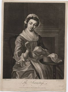 """18th century seamstress   The Seamstress"""" (from Walpole Library online)   18th Century Lower-C ..."""