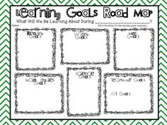 Free Learning Goals Road Map: Students write in learning goals so they know what is coming up!!