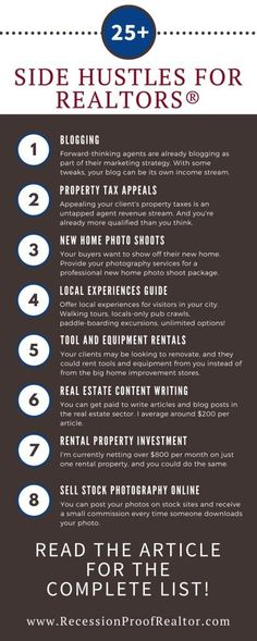 Impressive list of over 25 ways to make money as a real estate agent #realestatebusiness