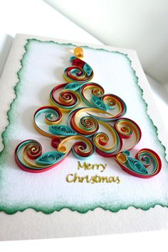 Quilled christmas card Size: Small by QuilledMessengers on Etsy
