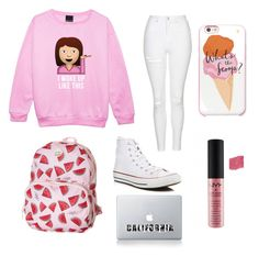"""white-pink #3"" by auliaarist on Polyvore featuring Topshop, Converse, Roxy, Kate Spade, NYX and Vinyl Revolution"