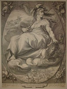 The Four Deities: 'Minerva', 1596, an engraving by Hendrik Cre Goltzius; the Graeco-Roman goddess Athena/Minerva of learning and the arts, including the art of warfare, is portrayed with such symbolic attributes as a helmet, owl and aegis shield. (The Hunterian Museum & Art Gallery Collecitons)