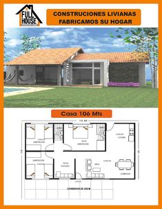 Full House Prefabricados 3 Bedroom Floor Plan, 2 Bedroom House Plans, Ranch House Plans, Bungalow House Design, Modern Bungalow, Independent House, Casas Containers, Small House Plans, Future House