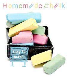 How to make homemade chalk.  Make this with an easy recipe and easy steps! It's a fun and rewarding project that kids love and perfect for summer boredom busters!