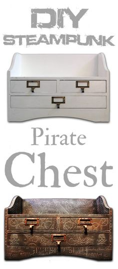 DIY Steampunk Pirate Chest -Create texture with stencils and spackle Steampunk Pirate, Steampunk Crafts, Steampunk House, Steampunk Design, Steampunk Cosplay, Steampunk Fashion, Steampunk Bedroom, Steampunk Furniture, Vintage Industrial Furniture