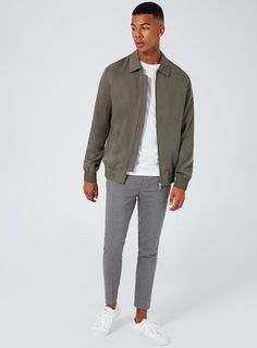 Khaki Tencel Smart Coach Jacket - Coats & Jackets - Clothing - TOPMAN USA