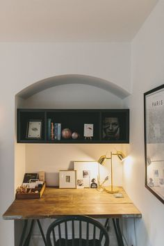 A snug office and entertaining space with dark alcove shelving, laura ashley sofa, custom made desk using ikea trestle legs and ottoman seating Alcove Desk, Alcove Shelving, Alcove Cupboards, Home Office Design, Home Office Decor, Office Ideas, Home Decor, Decor Interior Design, Interior Decorating
