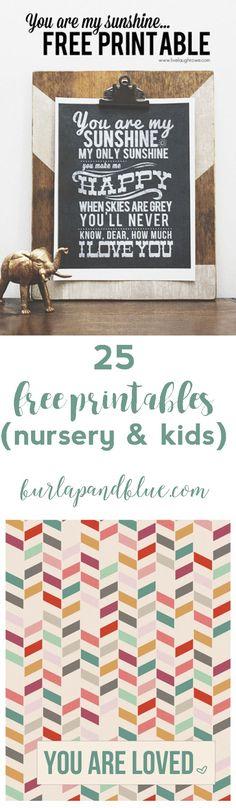 25 free printables for nursery, teens and kids!