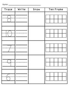 Numbers 1 10 Trace Write Draw And Ten Frames Math Pinterest