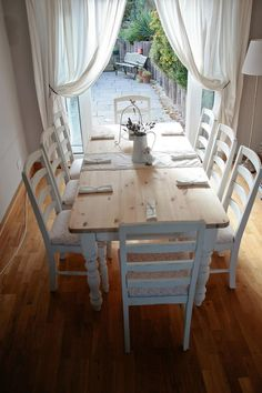 """white chabby chic furniture, vanity table   Shabby Chic French Country Farmhouse Dining Table And 8 Chairs 36.22""""H ..."""